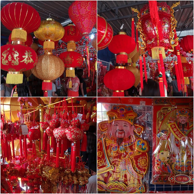 Everything in red such as lanterns, paper cut and decorative stuff for home decoration during Chinese New Year in Malaysia