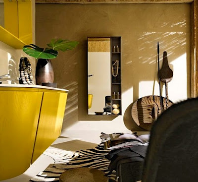 Decoraci n de interiores ba os muy moderno en color amarillo for Decoracion estilo africano