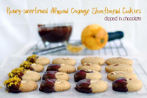 Honey Sweetened, Almond Orange Shortbread Cookies