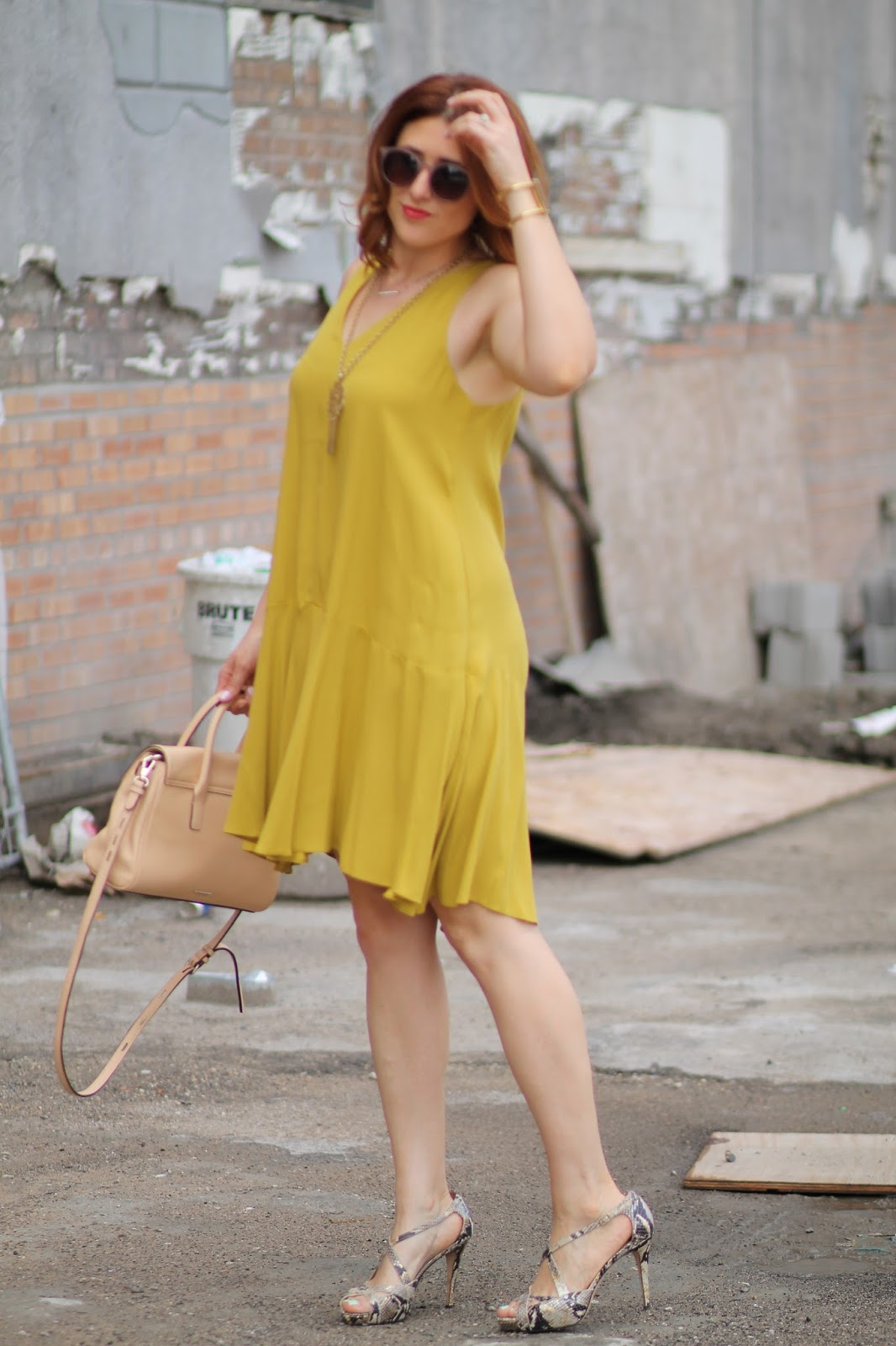 swing, trapeze, dress, kate, spade, heels, Jules, satchel, rebecca, Minkoff