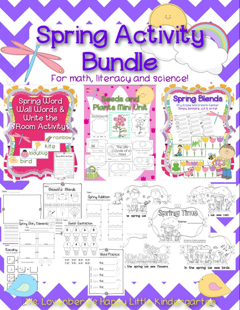 http://www.teacherspayteachers.com/Product/Spring-Literacy-Math-and-Science-Activities-1129144
