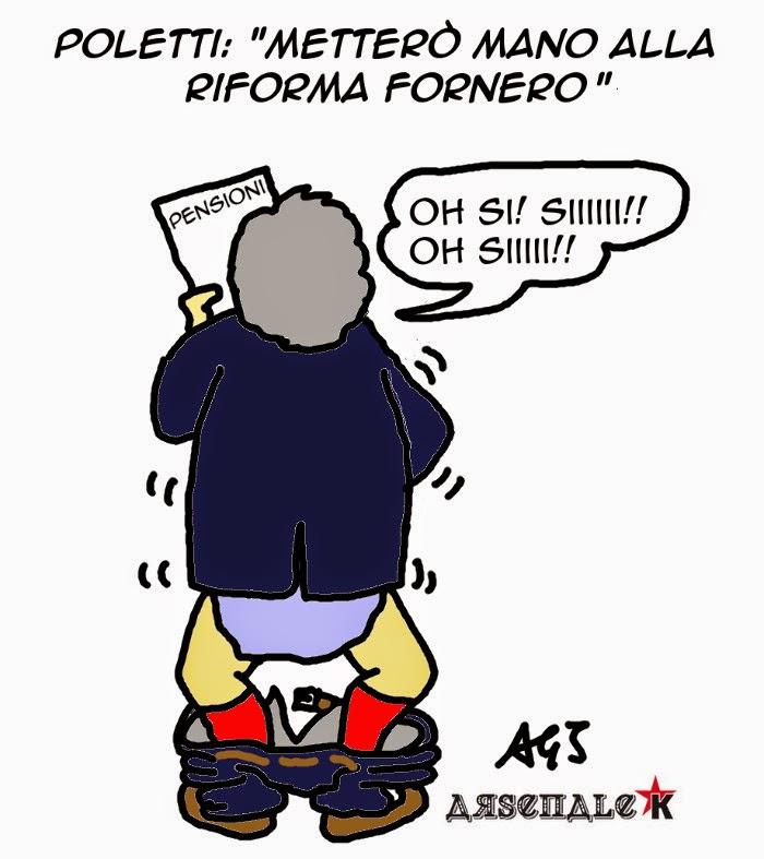 Fornero, Poletti, Pensioni, satira vignetta