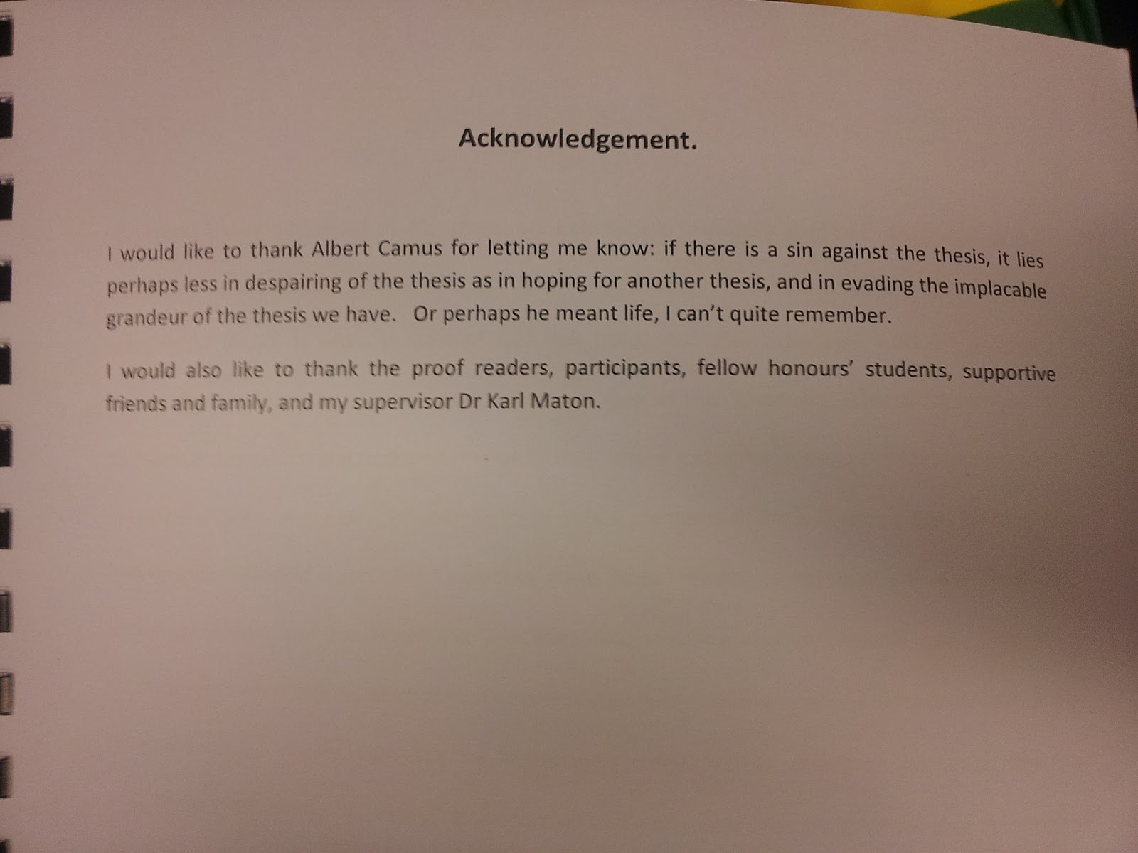 Dissertation acknowledgements memory