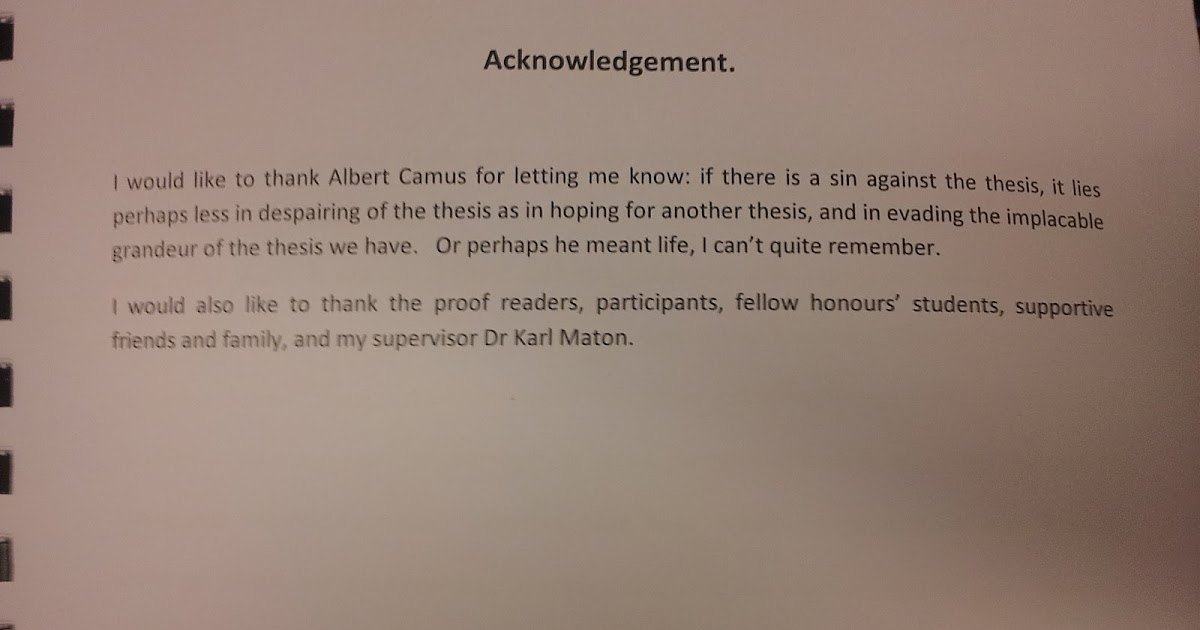 Thesis acknowledgement phrases