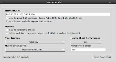 Imagen de NameBench en Ubuntu 10.04