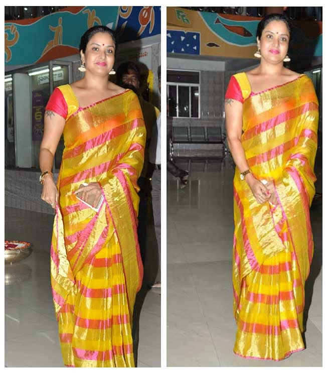 Actress Pragathi In Organza Silk Saree