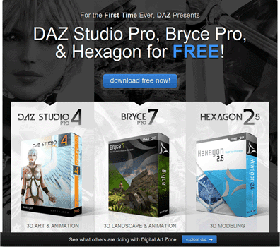DAZ Studio 4 Pro, Bryce 7 Pro, Hexagon 2.5