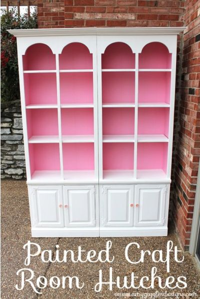 Painted Craft Room Hutches