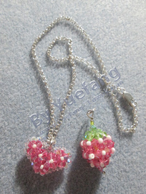 Beaded_heart_pendant_and_Strawberry_beaded_pendant_for_one_piece_silver_necklace