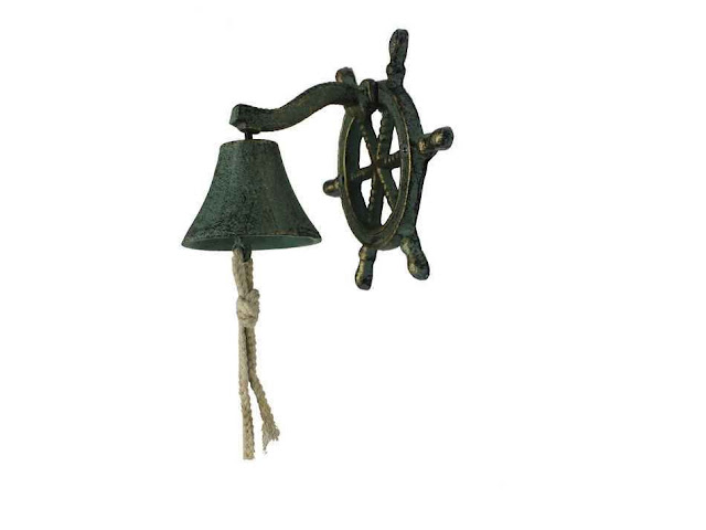 Seaworn Bronze Cast Iron Hanging Ship Wheel Bell