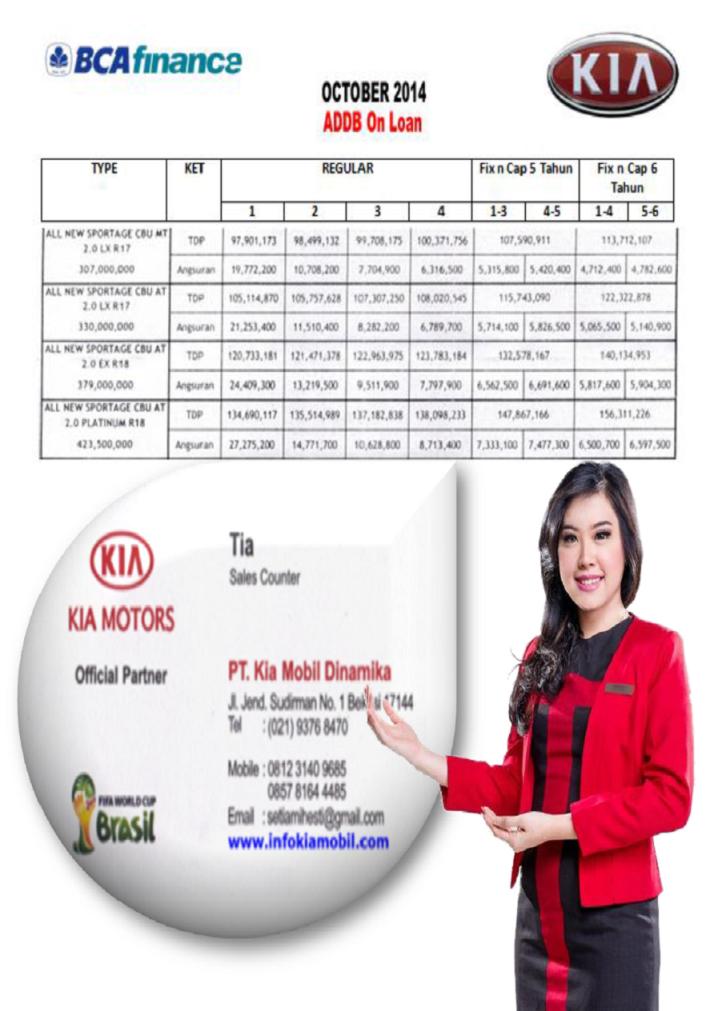 Harga Mobil KIA All New Sportage BCA Finance 2014-2015