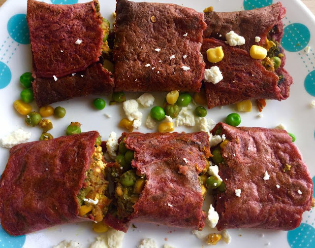 Beetroot chilla stuffed with cottage cheese smeared in lettuce saucePower Breakfasts