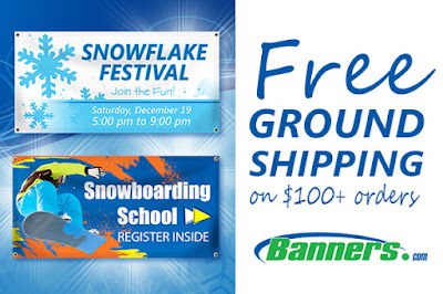 Free Ground Shipping on orders of $100+ through 12/15/15 at Banners.com