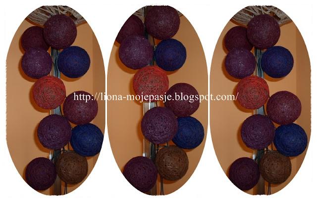 Moje cotton balls:) oraz abażur ze sznurka:)