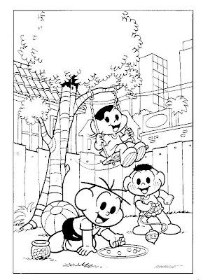Desenhos para Colorir da Turma da Mônica - Personagens da Turma da Mônica Brincando