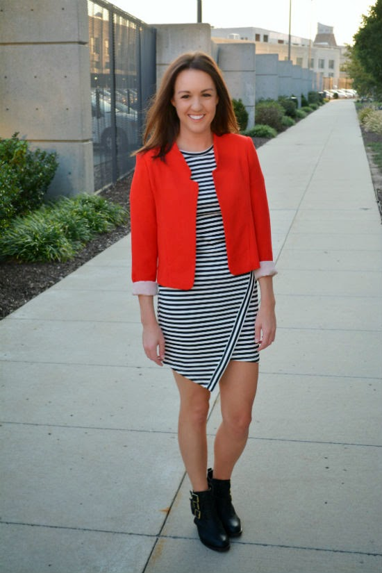 red blazer + black and white striped dress + edgy boots