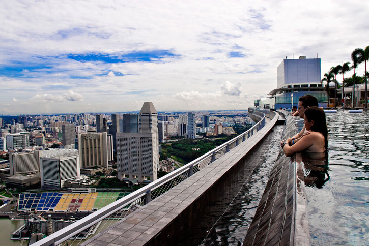 Pool on the 57th floor of marina bay sands casino in singapore let the world know - Marina bay singapore pool ...