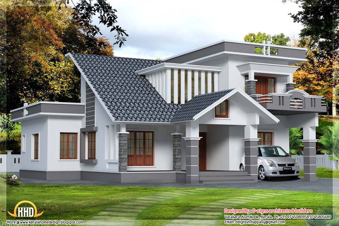 2500 kerala contemporary mix home design home for Kerala home designs contemporary