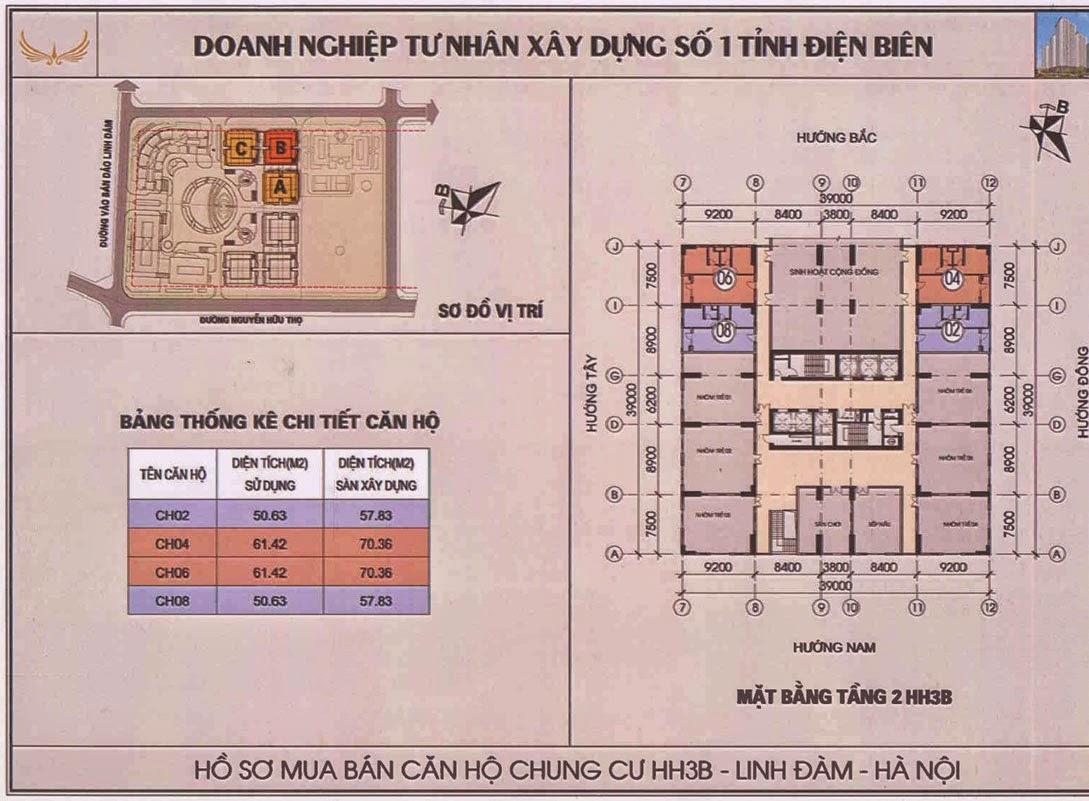 Mặt bằng tầng 2 Chung cư hh3b linh đàm