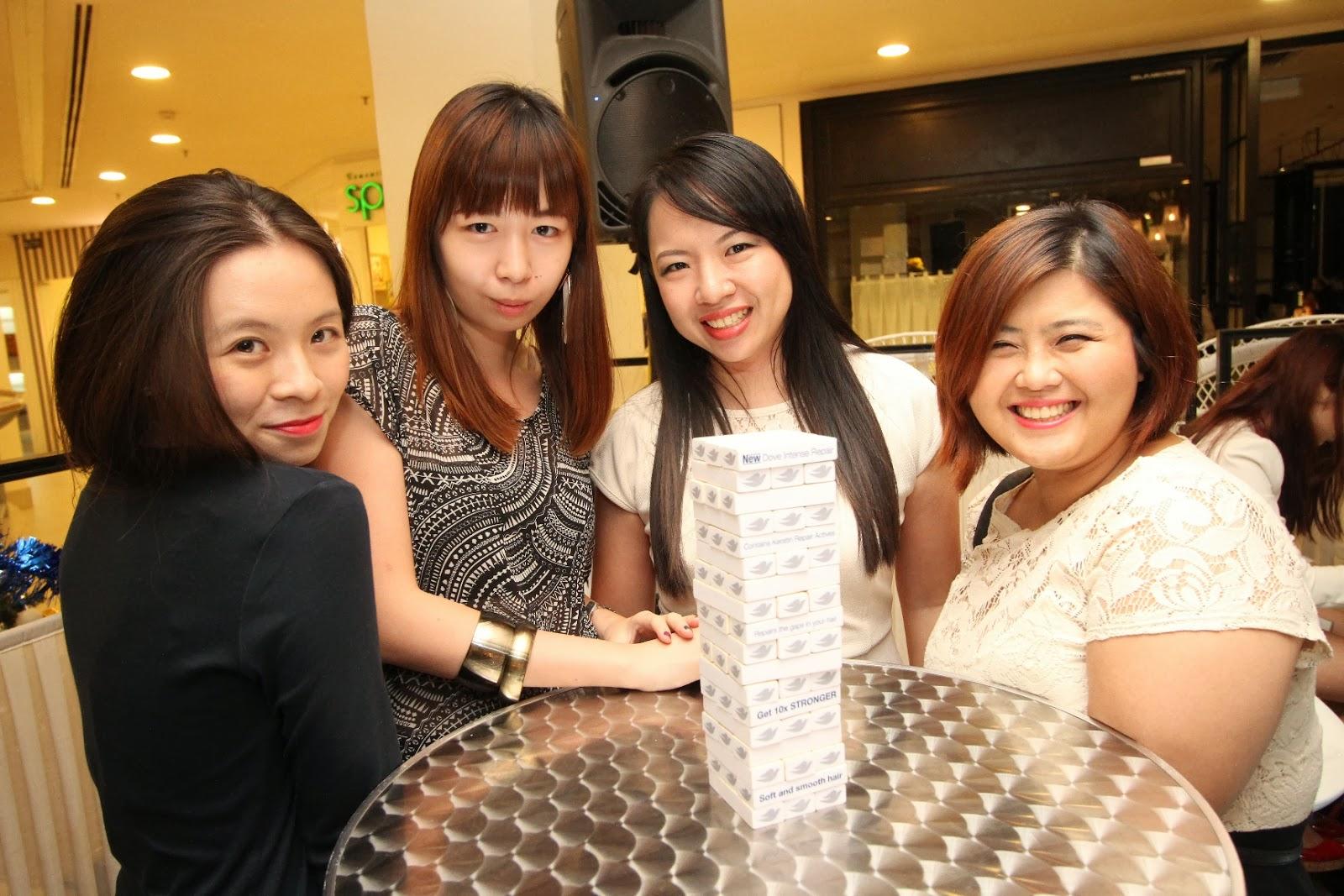 Girls playing jenga
