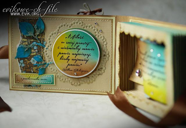 kartka ślubna, mikrokulki szklane, przeszycia na kartce, Ewa Jarlińska