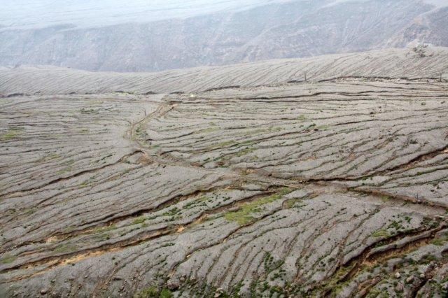 Campos de lava, flujos piroclasticos en la zona de exclusión en la isla de Montserrat