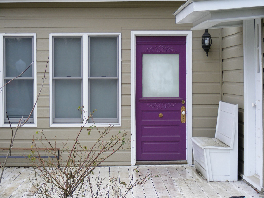 768 #5C3365  Purple Door Theme Cozy Entry Front Purple Door With White Chair In wallpaper Purple Front Doors 47051024