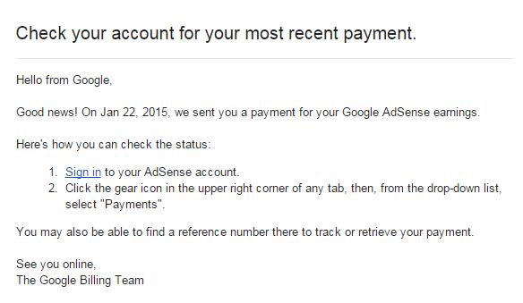 Notifikasi Google AdSense