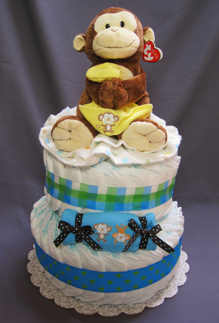 Jungle Fun Large 2 Tier Diaper Cake