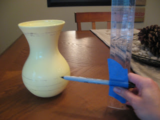 Drawing Consistant Lines Around Vase with Ruler and Pen
