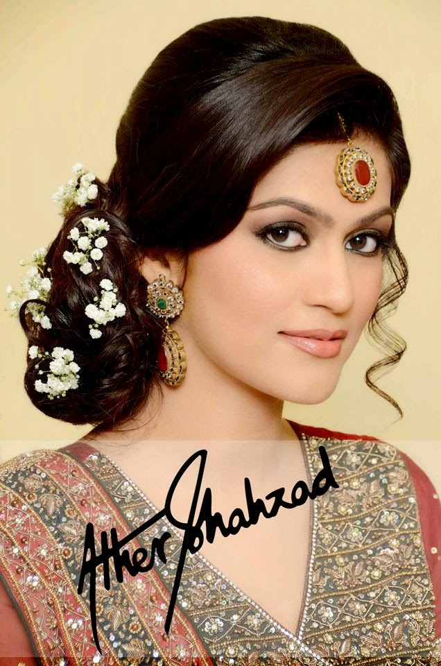 Latest Bridal Make Up Hairstyle For Engagement And Walima By Ather