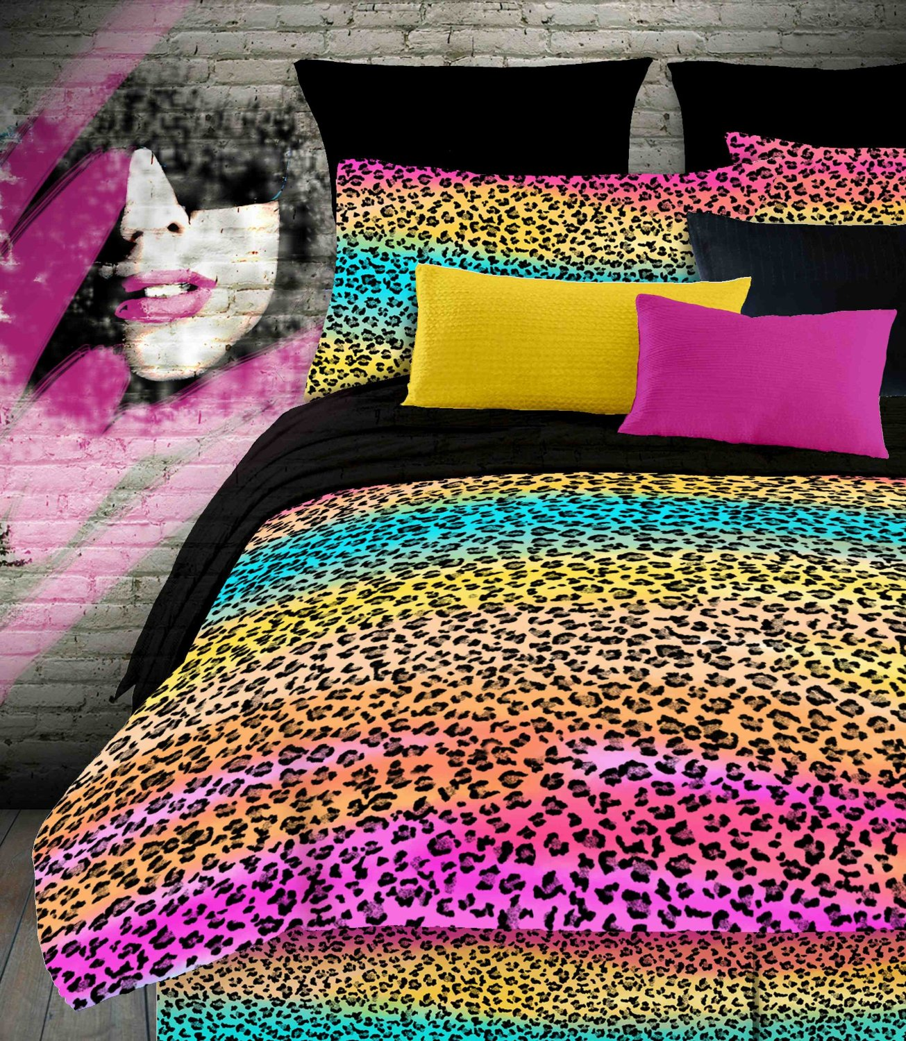 Leopard print and red bedding - Animal Print Bedding For Tween Girls Rainbow Leopard Comforter Set