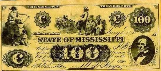 100 долларов КША,  штат Миссисипи, 1863 год