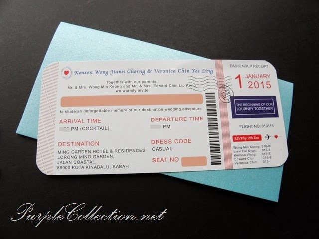 Wedding Boarding Pass Invitation Card, Printing, Malaysia, 婚礼邀请卡片, kad kahwin, custom design, sabah, sarawak, kota kinabalu, kuching, tawau, sandakan, miri, bintulu, brunei, singapore, perak, ipoh, penang, kedah, kelantan, pahang, bentong, johor bahru, kuantan, melaka, seremban, handmade, baby pink ribbon, cetak, flourish tag, turquoise colour, unique, special, modern, travel theme, personalised, personalized, international, online order, envelope,