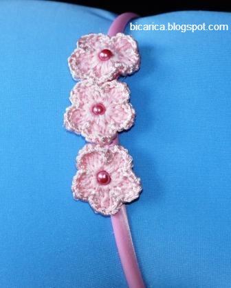 Diademas con flores a ganchillo bicarica ropita artesanal for Diademas para bebes de ganchillo