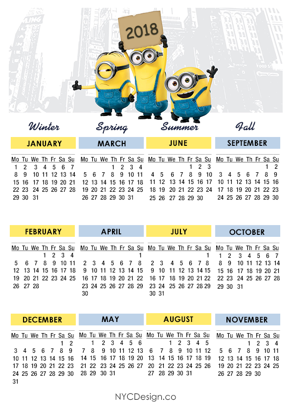 New York Web Design Studio New York Ny Minions Calendar
