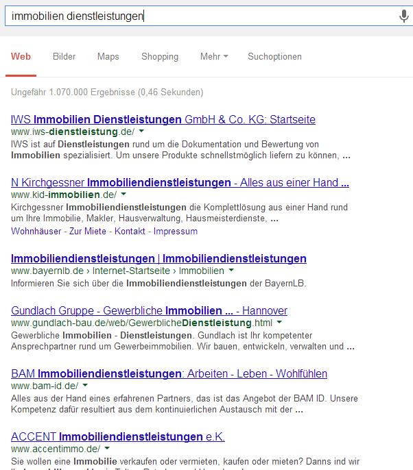 Google SERP von Immobilien Dienstleistungen
