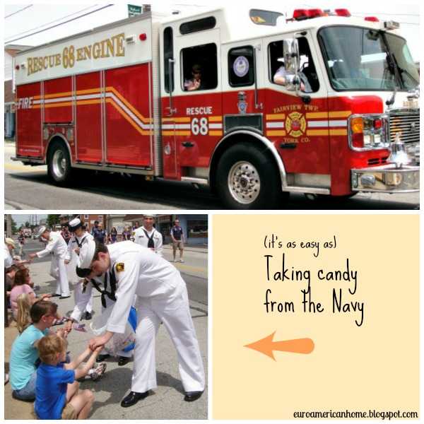 How to celebrate Memorial day in small town America - the navy handing out candy