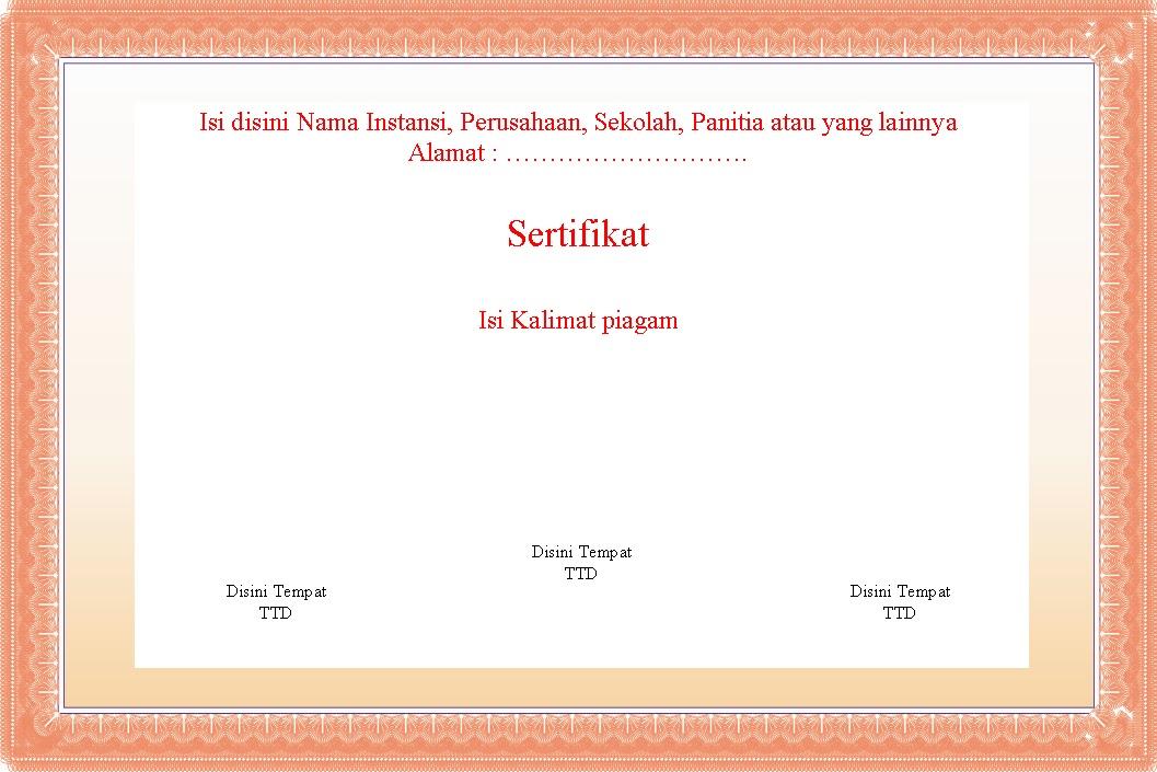 Bingkai untuk ijasah, sertifikat, piagam dalam Ms Word