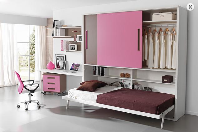 Camas juveniles individuales dobles abatibles o share - Aprovechar espacios pequenos dormitorios ...