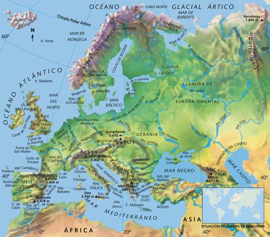 Ciencias Sociales Mapa fsico de Europa