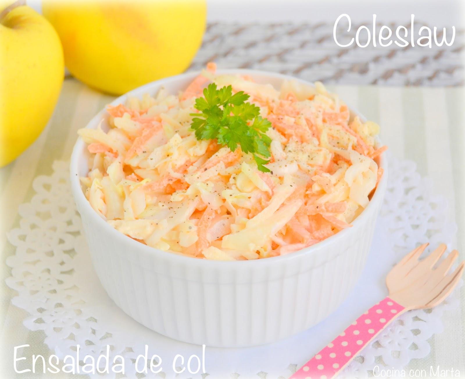 Coleslaw o ensalada de col. Receta americana casera, fácil, rápida.