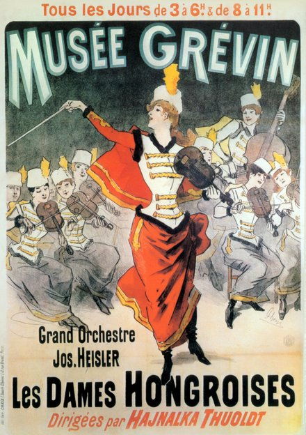 classic posters, free download, graphic design, movies, retro prints, theater, vintage, vintage posters, french poster, Musee Grevin, Grand Orchestre Jos. Heisler, Les Dames Hongroises - Vintage French Theater Poster