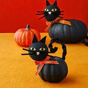 Gatos para halloween con calabazas pintadas - Calabazas de halloween pintadas ...