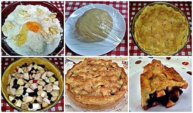 Preparación tarta manzana y moras