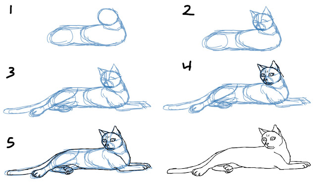 How to Draw a Cat Lying Down