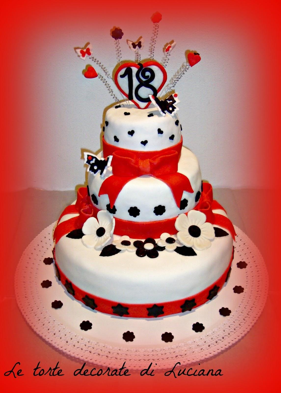 Le torte decorate torta 18 anni in bianco rosso nero for Torte per 18 anni maschile