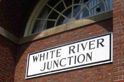 White River Junction sign over the train station door