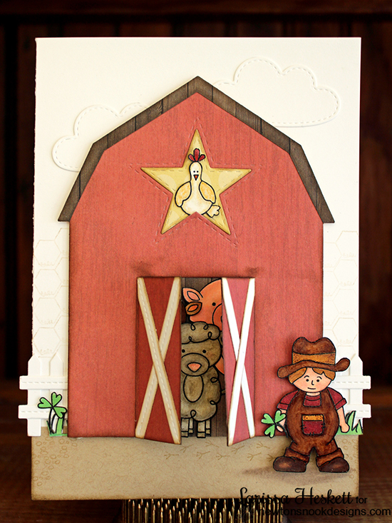 Farm Animal Barn Card by Larissa Heskett | Farmyard Friends Stamp Set by Newton's Nook Designs