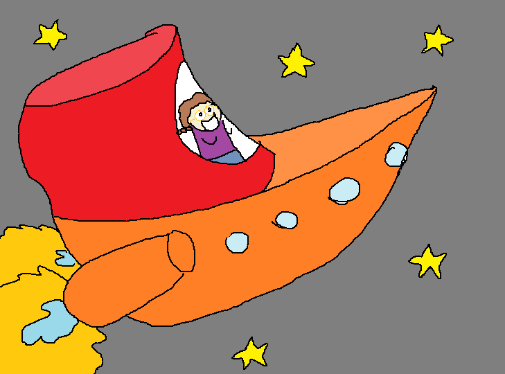 Me inside a boat-like thing with jet engines.  I am surrounded by stars in space.